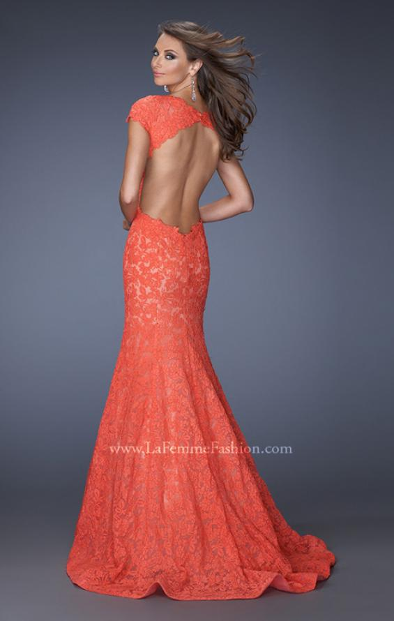 Picture of: Cap Sleeve Lace Mermaid Dress with Open Back in Orange, Style: 20117, Back Picture