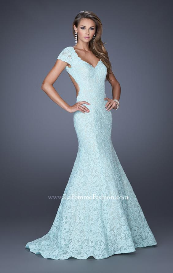 Picture of: Cap Sleeve Lace Mermaid Dress with Open Back in Blue, Style: 20117, Detail Picture 1