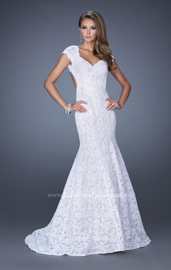 Picture of: Cap Sleeve Lace Mermaid Dress with Open Back in White, Style: 20117, Detail Picture 2