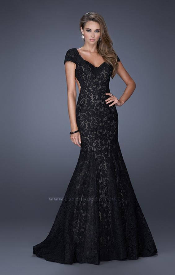 Picture of: Cap Sleeve Lace Mermaid Dress with Open Back in Black, Style: 20117, Detail Picture 3