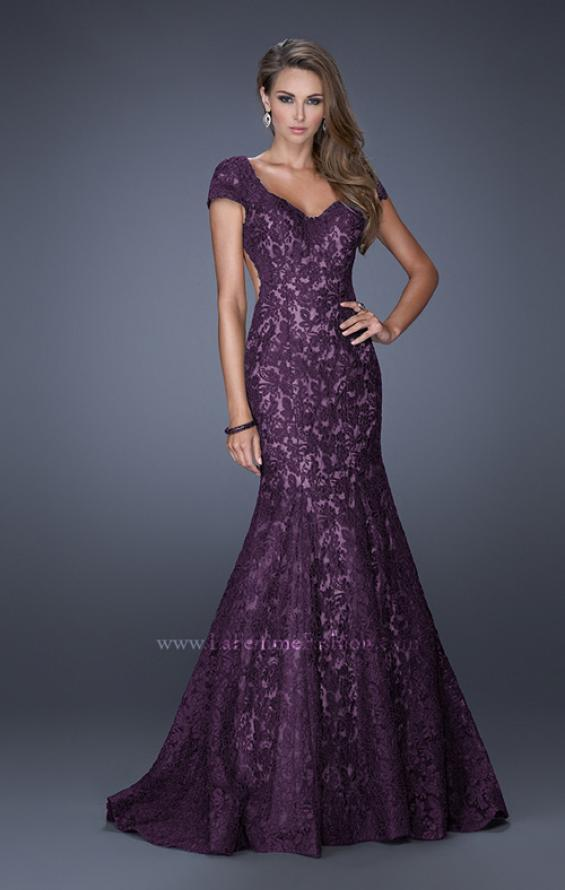 Picture of: Cap Sleeve Lace Mermaid Dress with Open Back in Purple, Style: 20117, Detail Picture 4