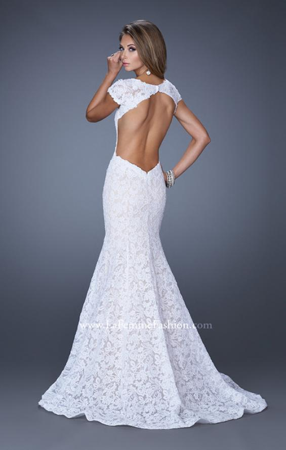 Picture of: Cap Sleeve Lace Mermaid Dress with Open Back in White, Style: 20117, Detail Picture 5