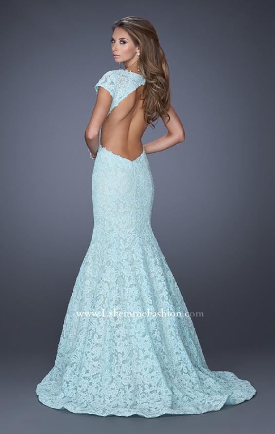 Picture of: Cap Sleeve Lace Mermaid Dress with Open Back in Blue, Style: 20117, Detail Picture 6
