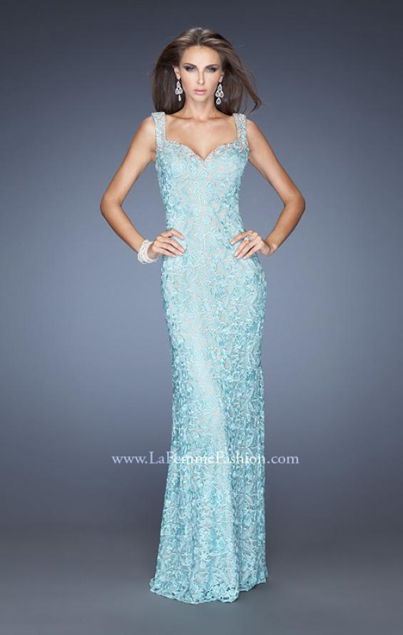 Picture of: Long Lace Column Gown with Vintage Inspired Beading in Blue, Style: 20121, Main Picture
