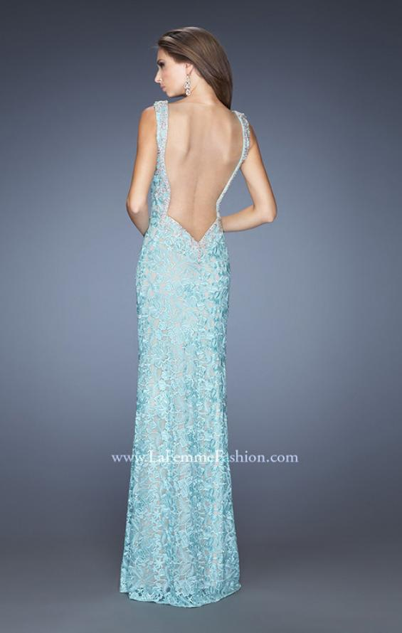 Picture of: Long Lace Column Gown with Vintage Inspired Beading in Blue, Style: 20121, Back Picture