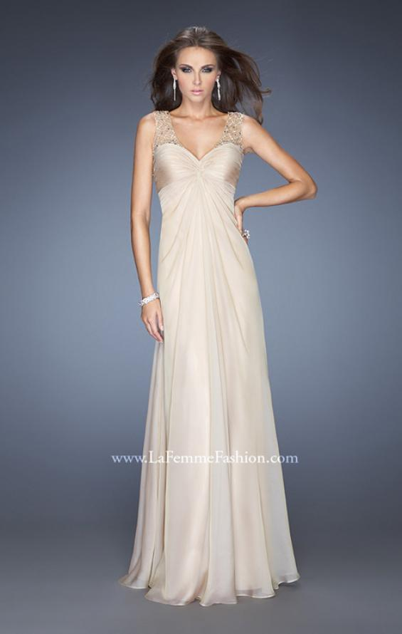 Picture of: Long Empire Waist Chiffon Prom Gown with Crystal Beads in Nude, Style: 20122, Main Picture