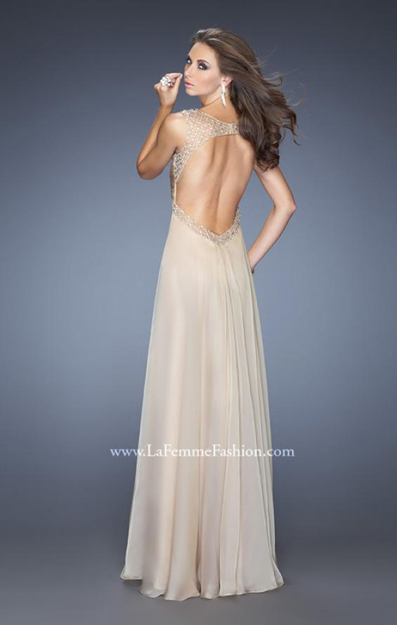 Picture of: Long Empire Waist Chiffon Prom Gown with Crystal Beads in Nude, Style: 20122, Back Picture