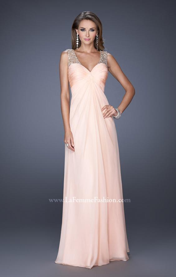Picture of: Long Empire Waist Chiffon Prom Gown with Crystal Beads in Pink, Style: 20122, Detail Picture 1