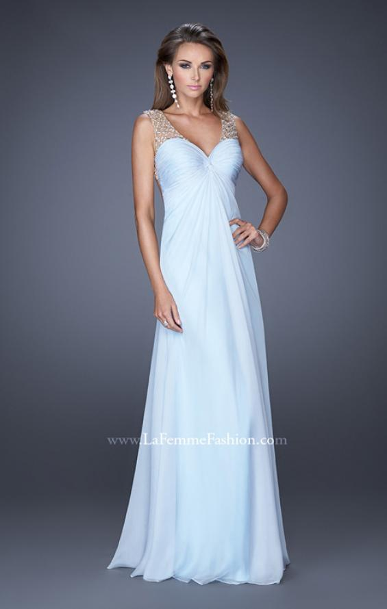 Picture of: Long Empire Waist Chiffon Prom Gown with Crystal Beads in Blue, Style: 20122, Detail Picture 2