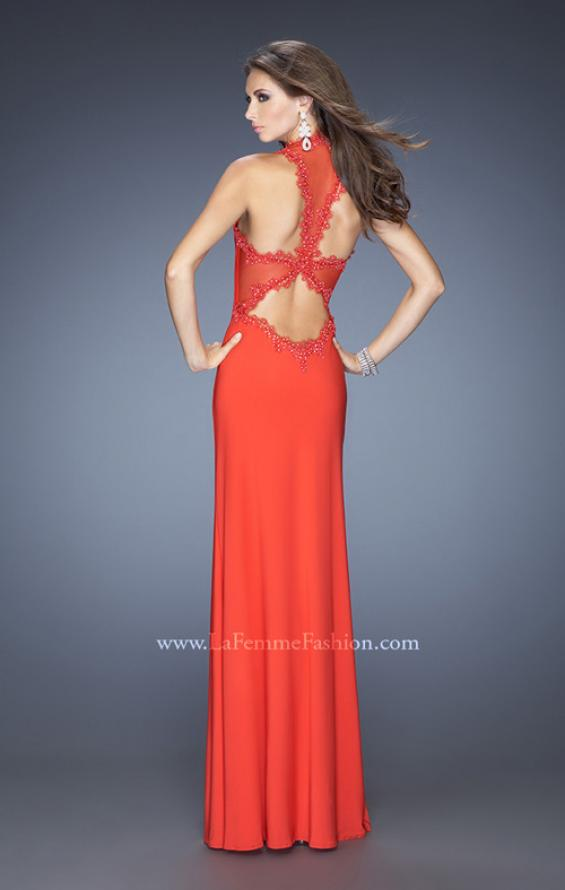 Picture of: Fitted Jersey Prom Gown with V Neckline and Jeweled Lace, Style: 20125, Back Picture