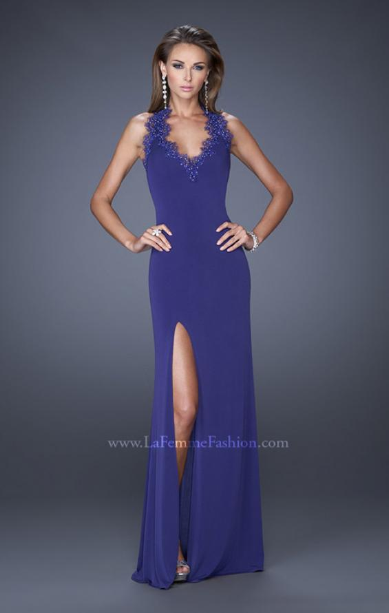 Picture of: Fitted Jersey Prom Gown with V Neckline and Jeweled Lace, Style: 20125, Detail Picture 2