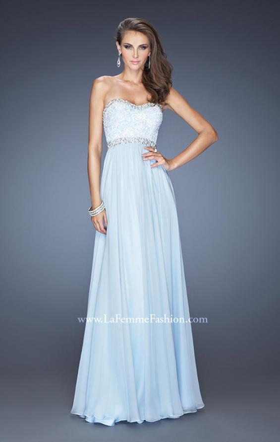 Picture of: Strapless Prom Dress with Gathered Skirt and Stones in Blue, Style: 20128, Main Picture