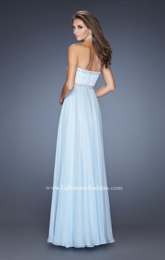 Picture of: Strapless Prom Dress with Gathered Skirt and Stones in Blue, Style: 20128, Back Picture