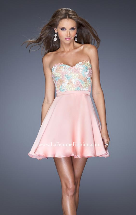 Picture of: Short Prom Dress with Full Satin Skirt and Open Back in Pink, Style: 20133, Main Picture