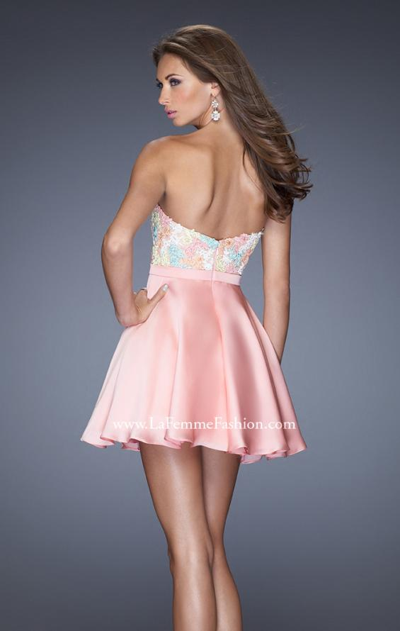 Picture of: Short Prom Dress with Full Satin Skirt and Open Back in Pink, Style: 20133, Back Picture