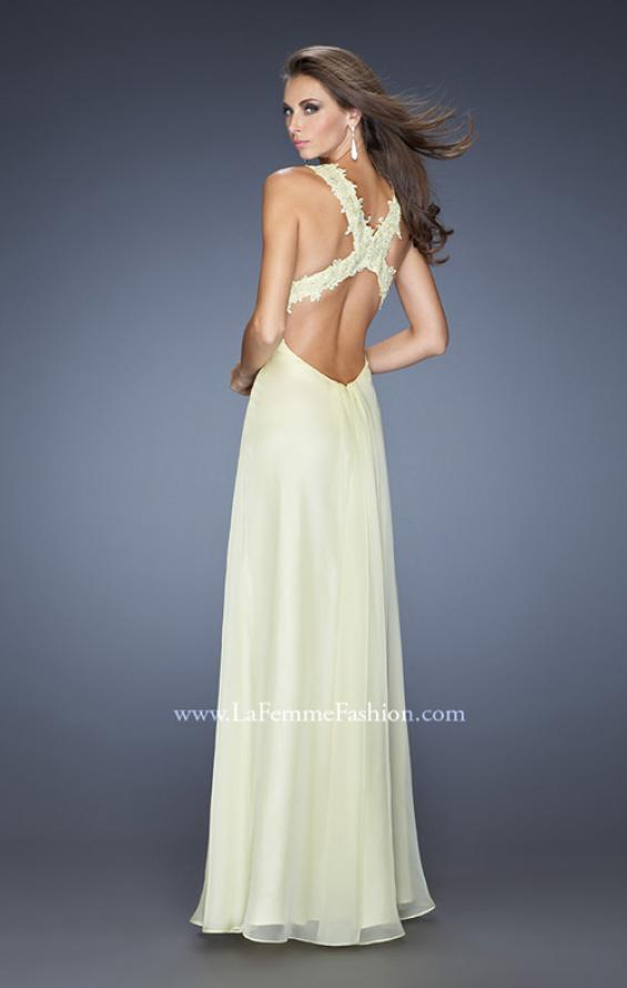 Picture of: Empire Waist, V Neck Gown with Ruched Bodice, Style: 20134, Back Picture