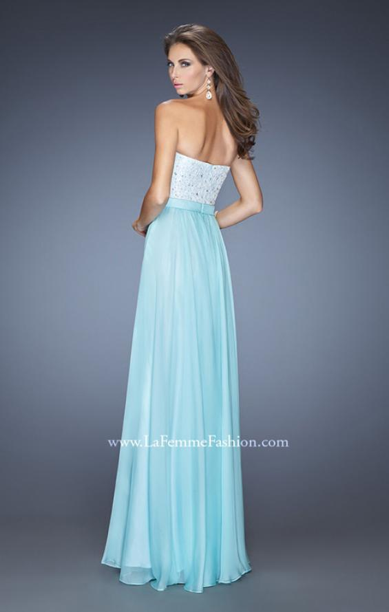 Picture of: Chiffon Prom Dress with Boat Neck and Cap Sleeves, Style: 20139, Back Picture