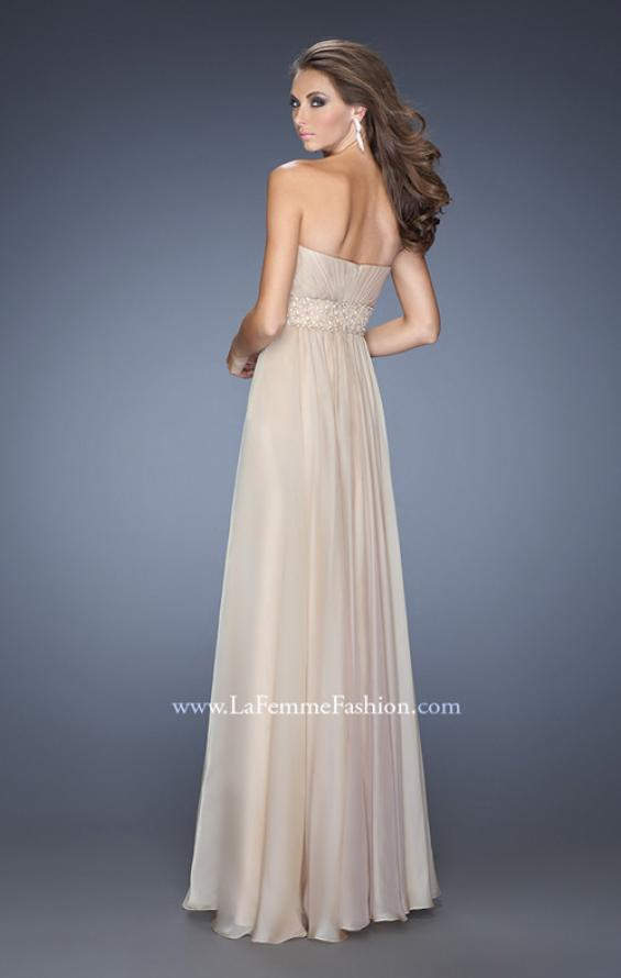 Picture of: Long Chiffon Prom Gown with Pleated Bodice and Beading in Nude, Style: 20140, Back Picture