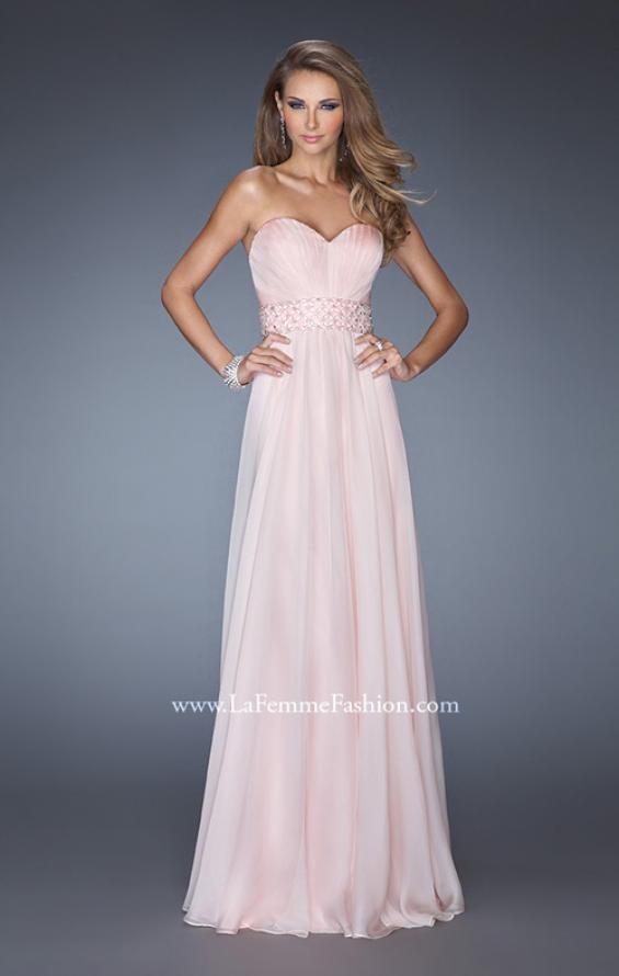 Picture of: Long Chiffon Prom Gown with Pleated Bodice and Beading in Pink, Style: 20140, Detail Picture 1