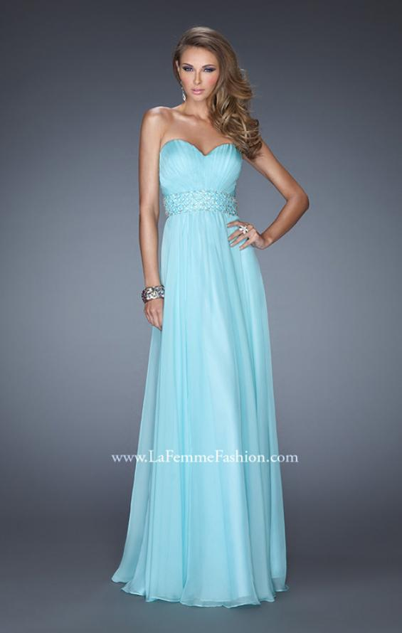 Picture of: Long Chiffon Prom Gown with Pleated Bodice and Beading in Blue, Style: 20140, Detail Picture 2