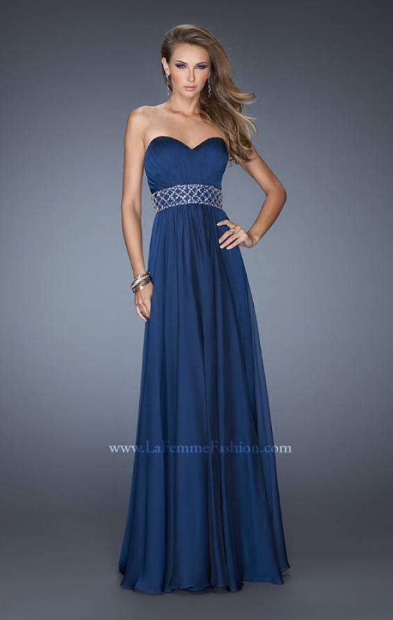 Picture of: Long Chiffon Prom Gown with Pleated Bodice and Beading in Blue, Style: 20140, Detail Picture 3