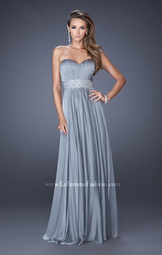 Picture of: Long Chiffon Prom Gown with Pleated Bodice and Beading in Silver, Style: 20140, Detail Picture 4