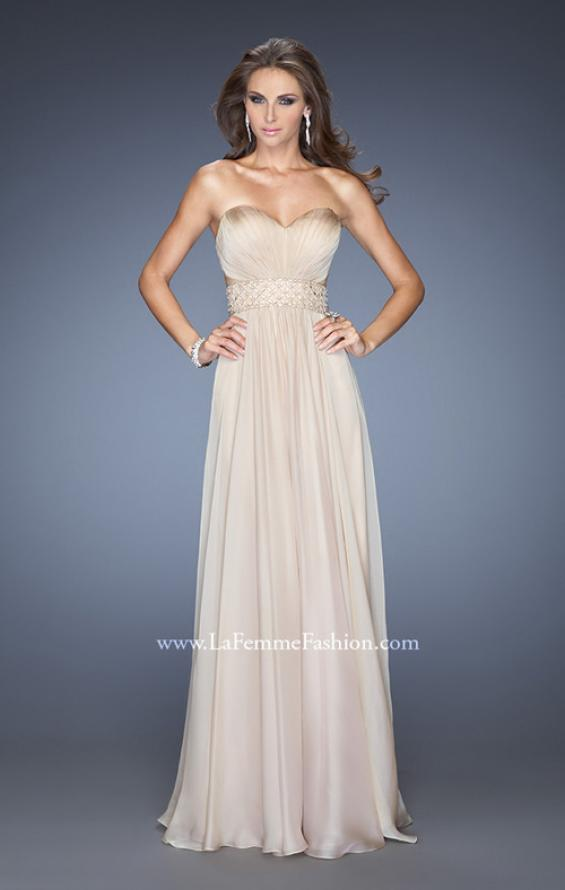 Picture of: Long Chiffon Prom Gown with Pleated Bodice and Beading in Nude, Style: 20140, Detail Picture 5