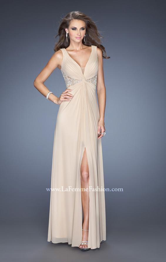 Picture of: V-neck Dress with Twisted Ruched Knot and Cut Outs, Style: 20142, Main Picture