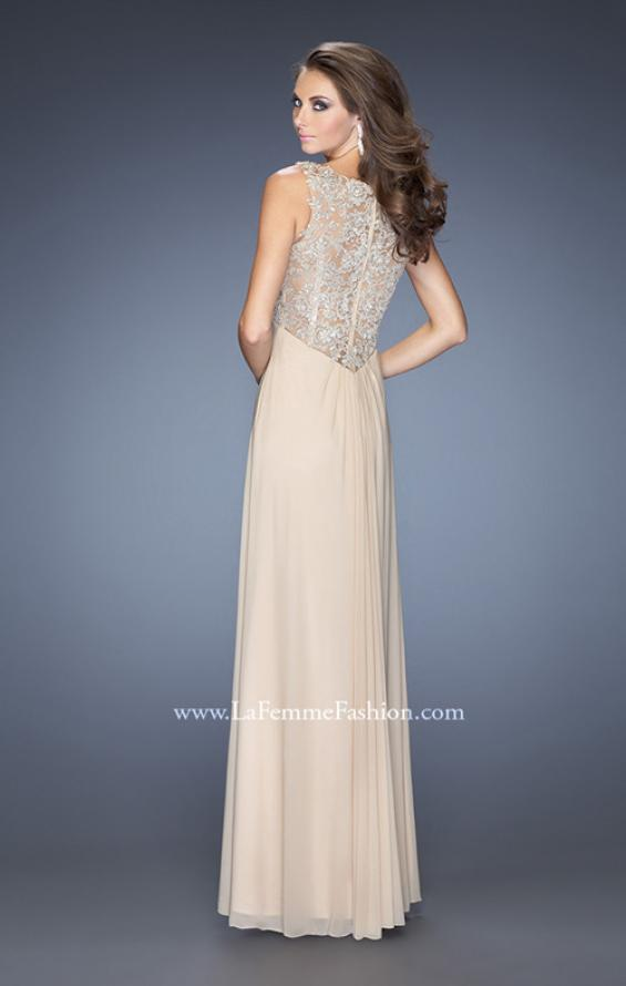 Picture of: V-neck Dress with Twisted Ruched Knot and Cut Outs, Style: 20142, Back Picture