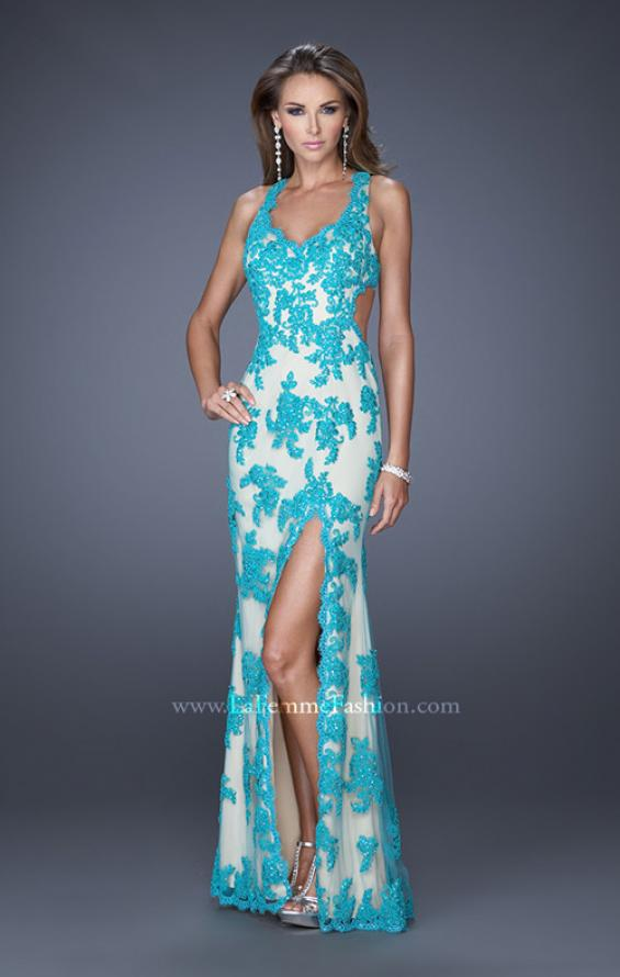 Picture of: Elegant V-Neck Prom Dress with Side Slit and Net Lace in Blue, Style: 20146, Detail Picture 1