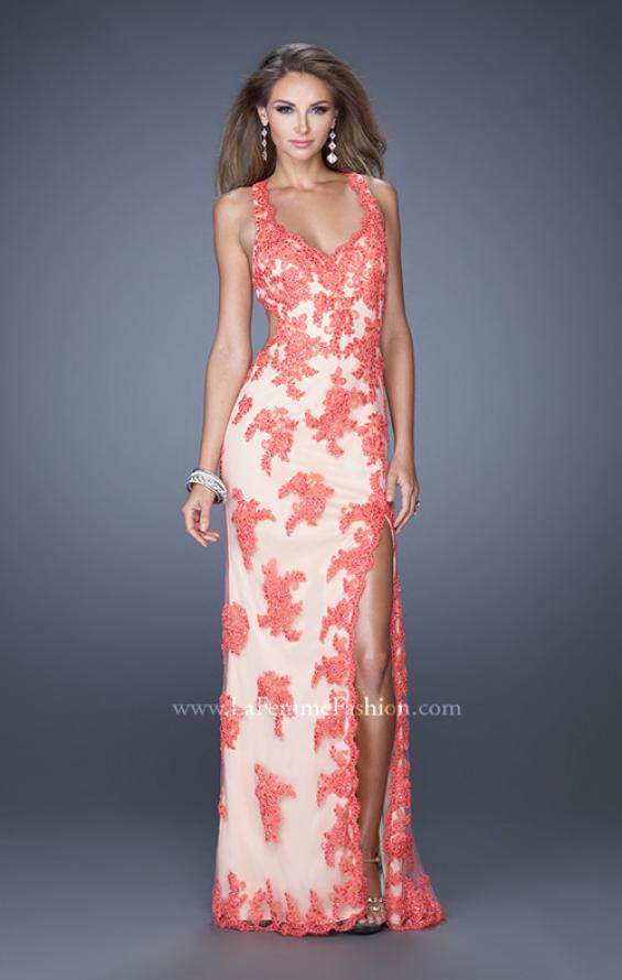 Picture of: Elegant V-Neck Prom Dress with Side Slit and Net Lace in Orange, Style: 20146, Detail Picture 2
