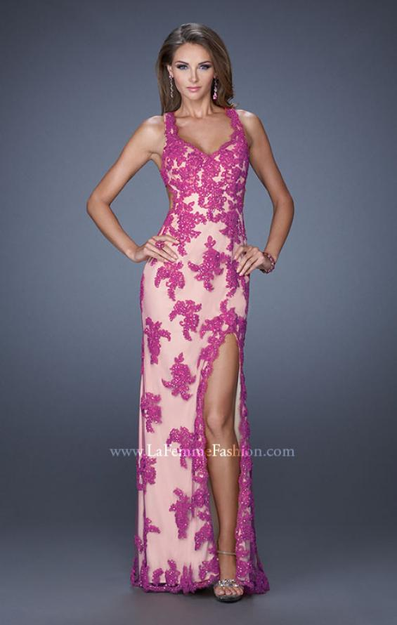 Picture of: Elegant V-Neck Prom Dress with Side Slit and Net Lace in Pink, Style: 20146, Detail Picture 3
