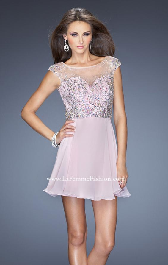 Picture of: Long Prom Dress with Gathered Skirt and Cap Sleeves in Pink, Style: 20159, Main Picture