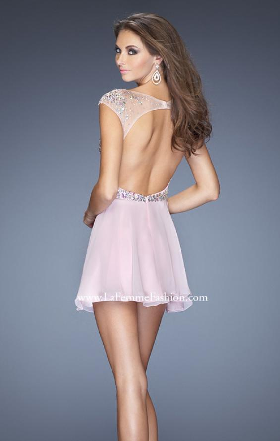 Picture of: Long Prom Dress with Gathered Skirt and Cap Sleeves in Pink, Style: 20159, Back Picture
