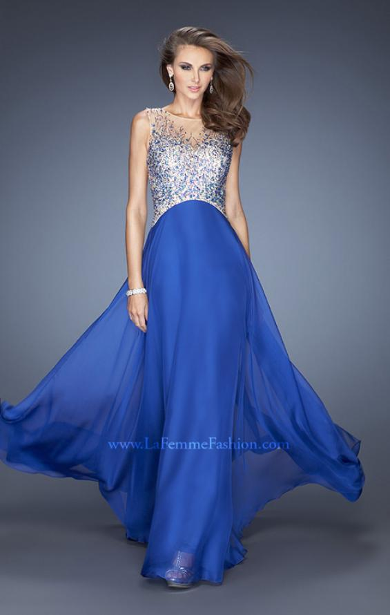 Picture of: A-line Chiffon Prom Dress with High Sheer Neckline in Blue, Style: 20163, Main Picture