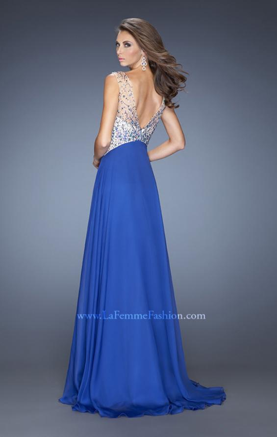 Picture of: A-line Chiffon Prom Dress with High Sheer Neckline in Blue, Style: 20163, Back Picture