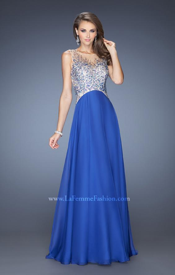 Picture of: A-line Chiffon Prom Dress with High Sheer Neckline in Blue, Style: 20163, Detail Picture 1