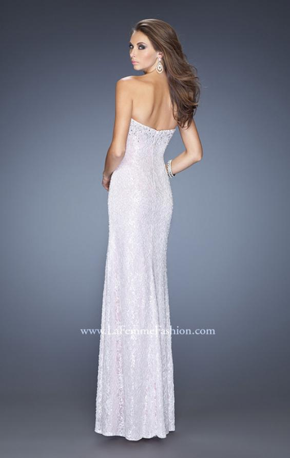 Picture of: Lace Prom Dress with Sweetheart Neckline and Side Slit in White, Style: 20165, Back Picture