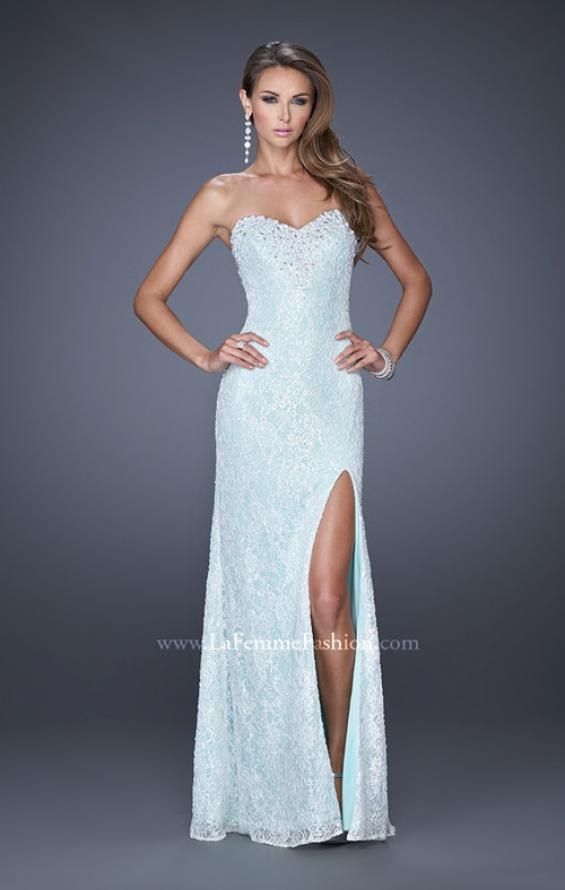 Picture of: Lace Prom Dress with Sweetheart Neckline and Side Slit in Blue, Style: 20165, Detail Picture 1