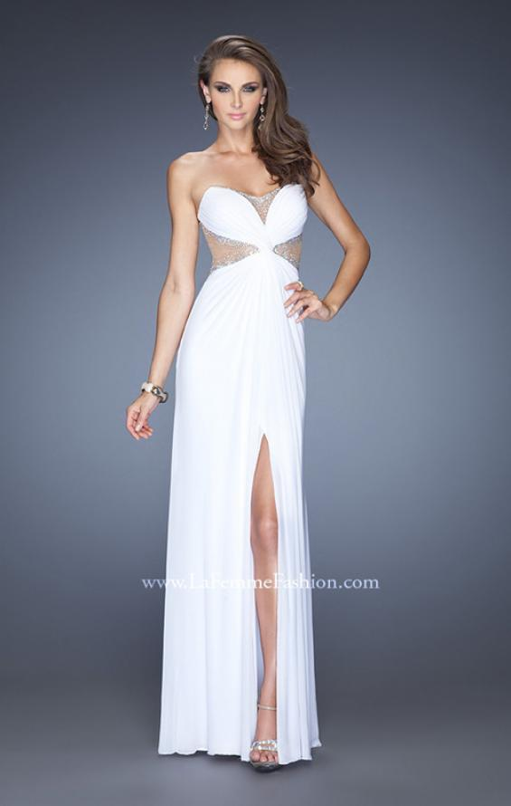 Picture of: Long Net Jersey Gown with Center Slit and Cut Outs, Style: 20166, Main Picture