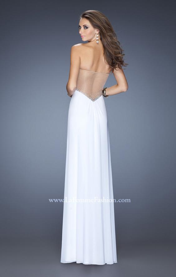 Picture of: Long Net Jersey Gown with Center Slit and Cut Outs, Style: 20166, Back Picture