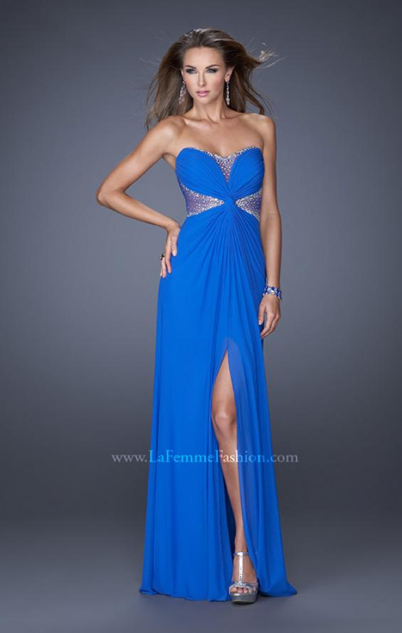 Picture of: Long Net Jersey Gown with Center Slit and Cut Outs, Style: 20166, Detail Picture 1