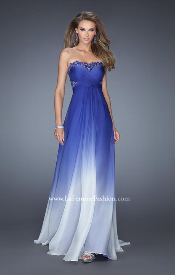 Picture of: Ombre Chiffon Prom Dress with Criss Cross Ruched Bodice, Style: 20167, Detail Picture 1