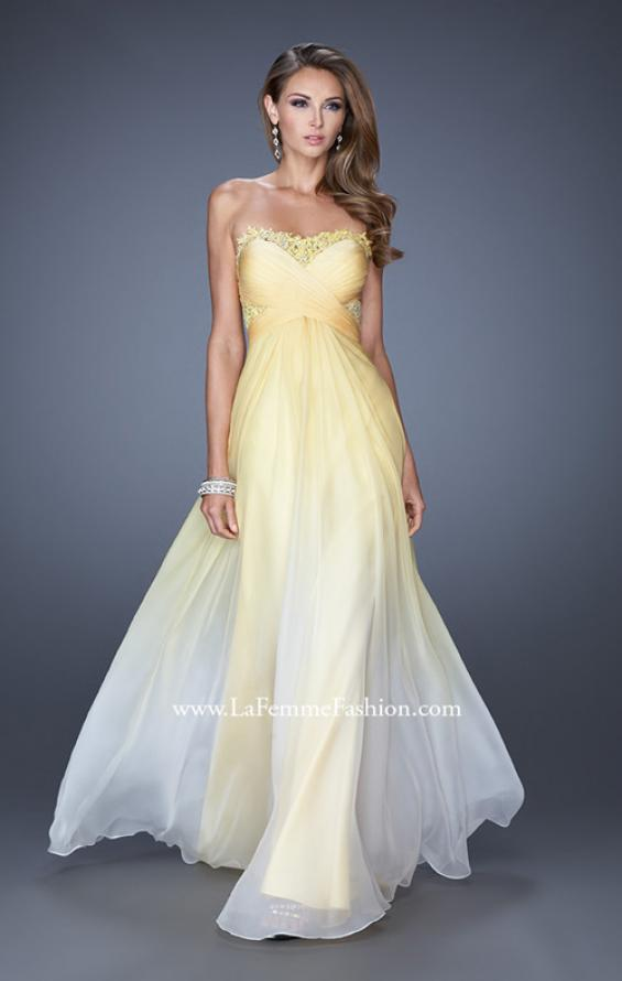 Picture of: Ombre Chiffon Prom Dress with Criss Cross Ruched Bodice, Style: 20167, Detail Picture 2