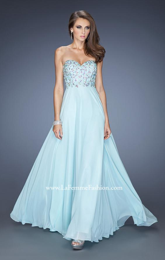 Picture of: Natural Waist Chiffon Prom Dress with Stones and Jewels in Blue, Style: 20168, Main Picture