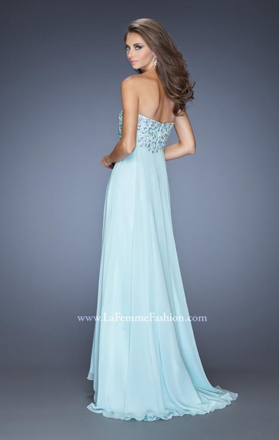 Picture of: Natural Waist Chiffon Prom Dress with Stones and Jewels in Blue, Style: 20168, Back Picture