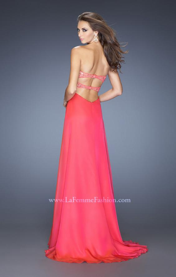 Picture of: Long Chiffon Prom Dress with Sheer Detail and Jewels, Style: 20169, Back Picture