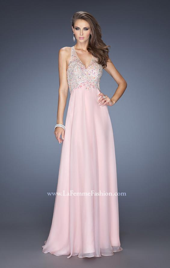 Picture of: Long V Neck Prom Gown with Chiffon Skirt and Illusion Straps, Style: 20171, Main Picture