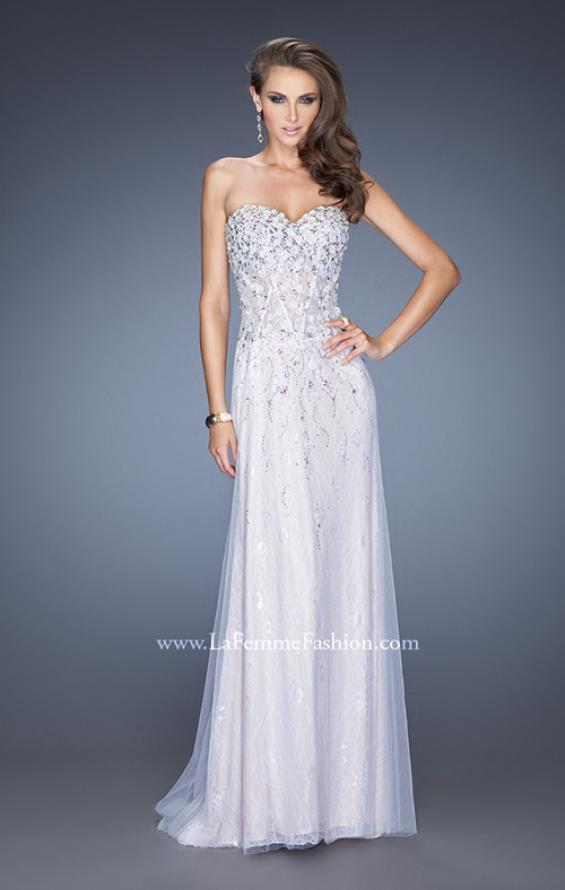 Picture of: Strapless White Lace Prom Gown with Floral Applique, Style: 20172, Main Picture