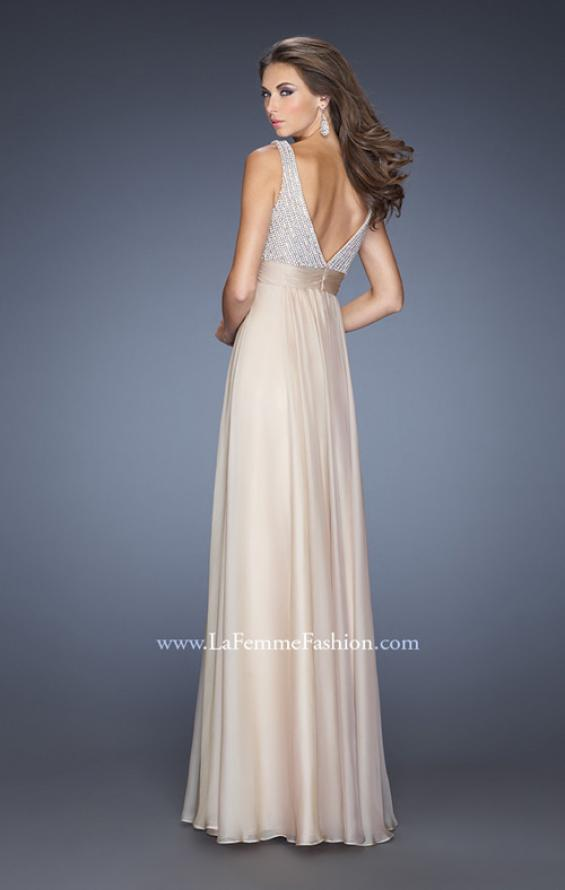Picture of: Long Prom Gown with Chiffon Skirt and Gathered Waist in Nude, Style: 20203, Back Picture